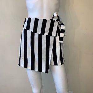 Missguided Stripe Wrap Over Skort Black White
